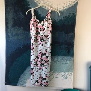 Maternity pink and white dress
